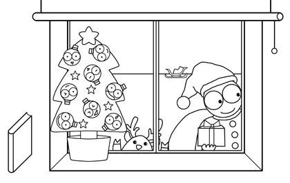 カメくんイラスト クリスマス線画