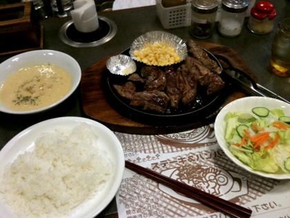 晩御飯のステーキ