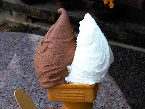 カドーレのジェラート「搾りたてミルク」と「ショコラ」
