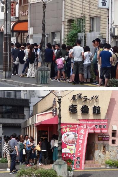 人気尾道ラーメン店「壱番館」の行列