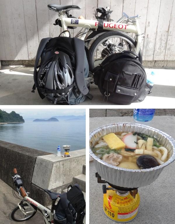 道中のコンビニで売っている「冷凍麺」を半分解凍する位に自転車で持ち歩いて海辺の雰囲気の良い場所でコンパクトなガスコンロで暖めて食べました