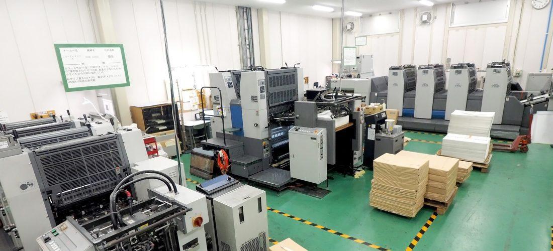 ニシキプリント東広島工場の印刷フロア